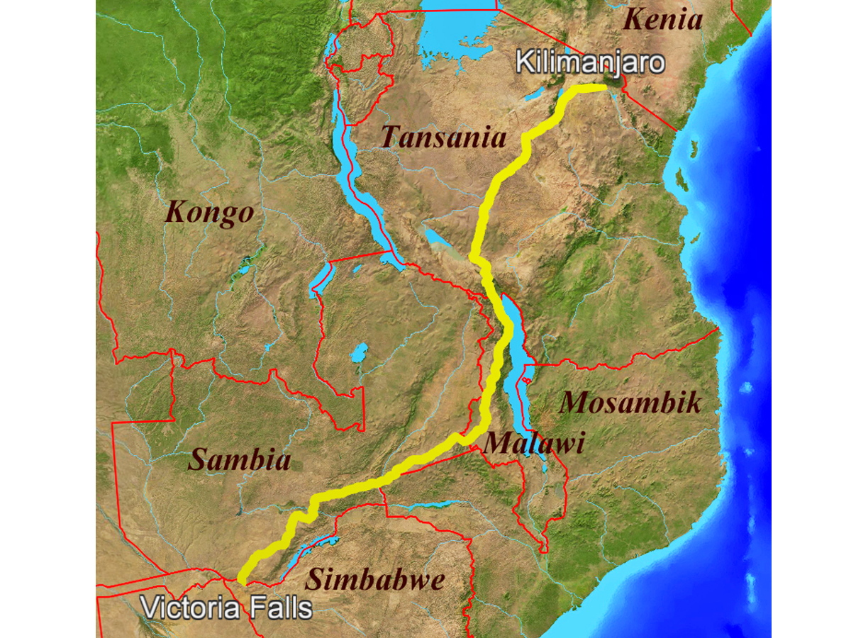 Radreise Afrika 2014 - Route