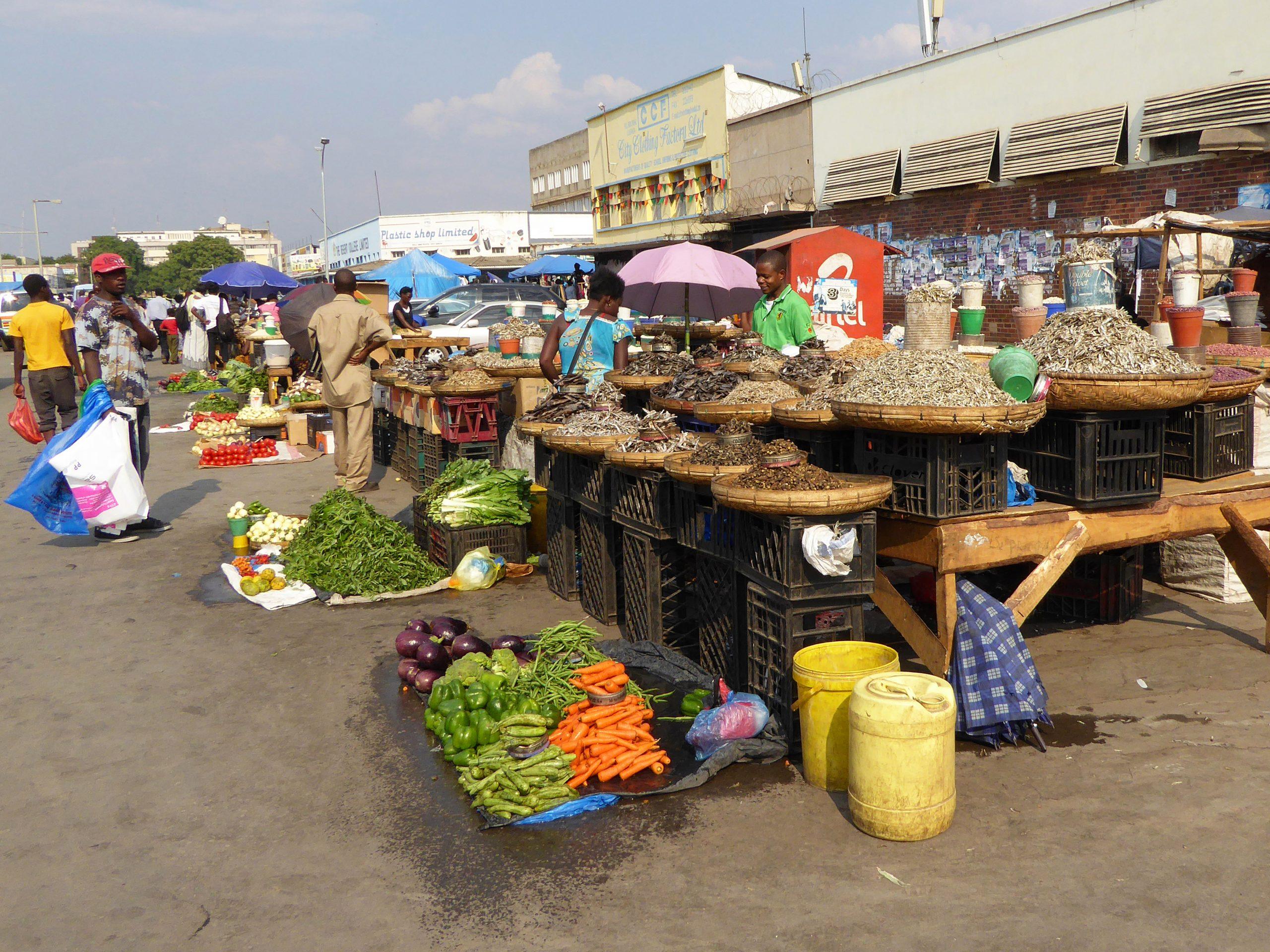Radreise Afrika 2014 - Gemüse auf dem Markt in Lusaka