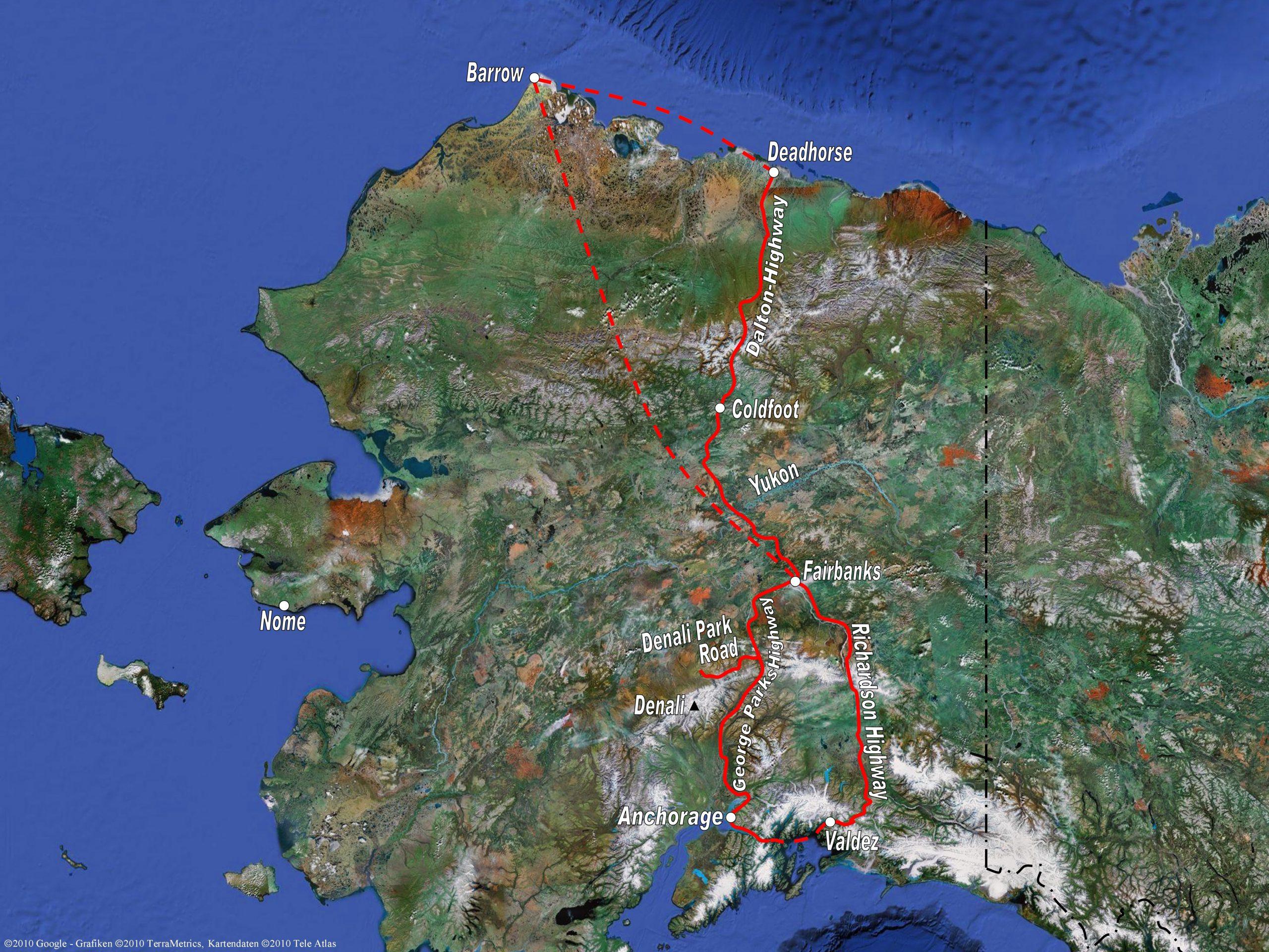 Radreise Alaska 2010 - Karte Zentral-Alaska