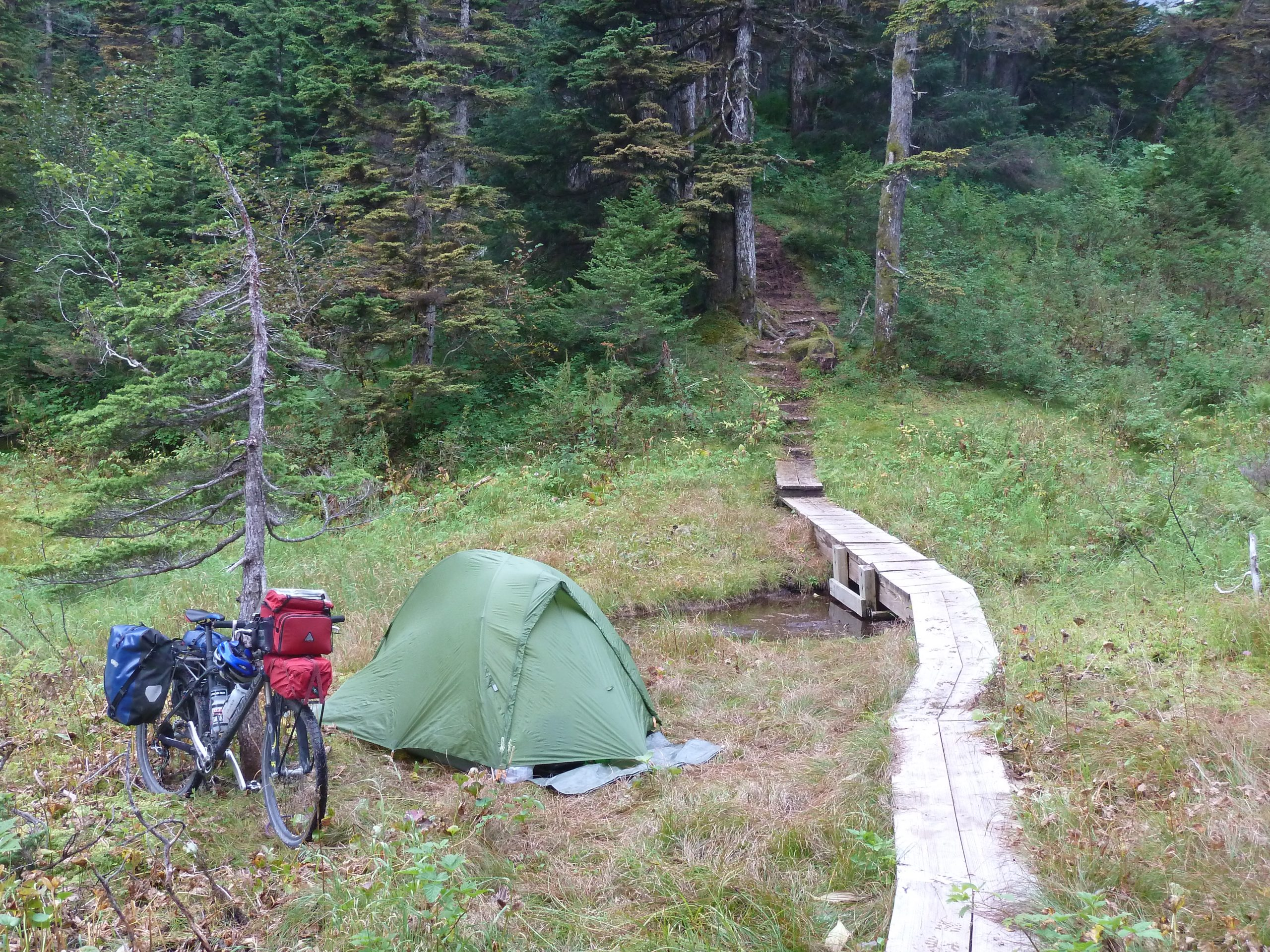 Radreise Alaska 2010 - Zeltplatz am Horsetail Falls Hiking Trail