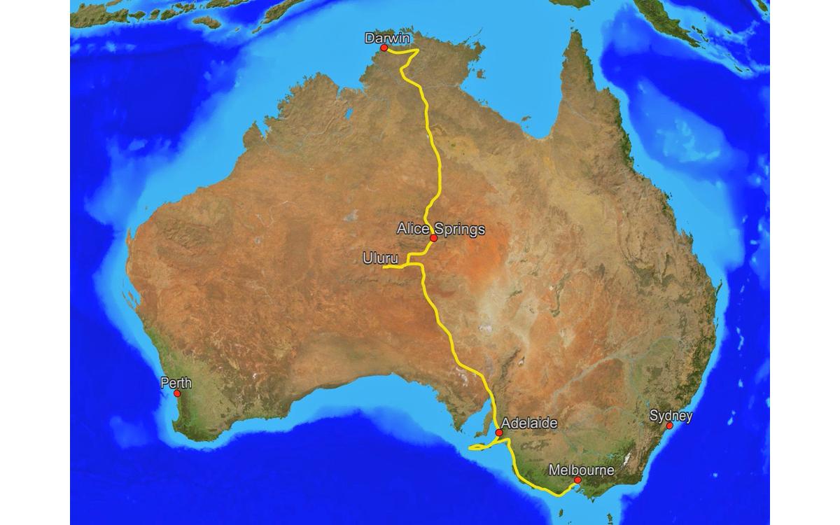 Radreise Australien 2016 - Route