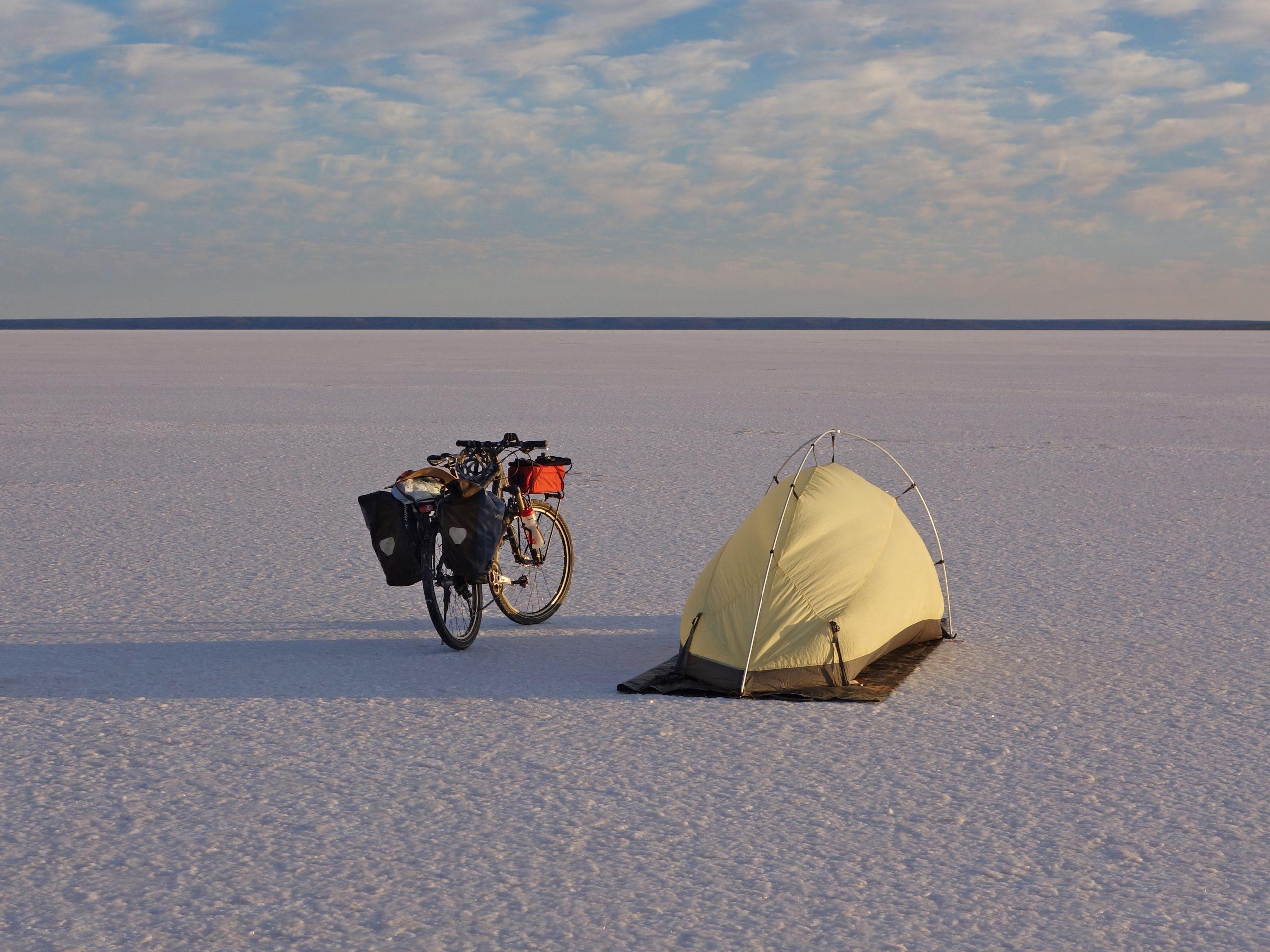 Radreise Australien 2016 - Zeltplatz auf dem Lake Hart