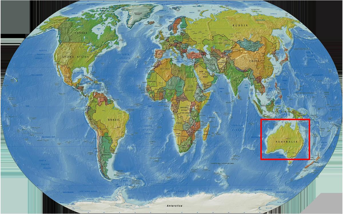 Radreise Australien 2016 - Weltkarte