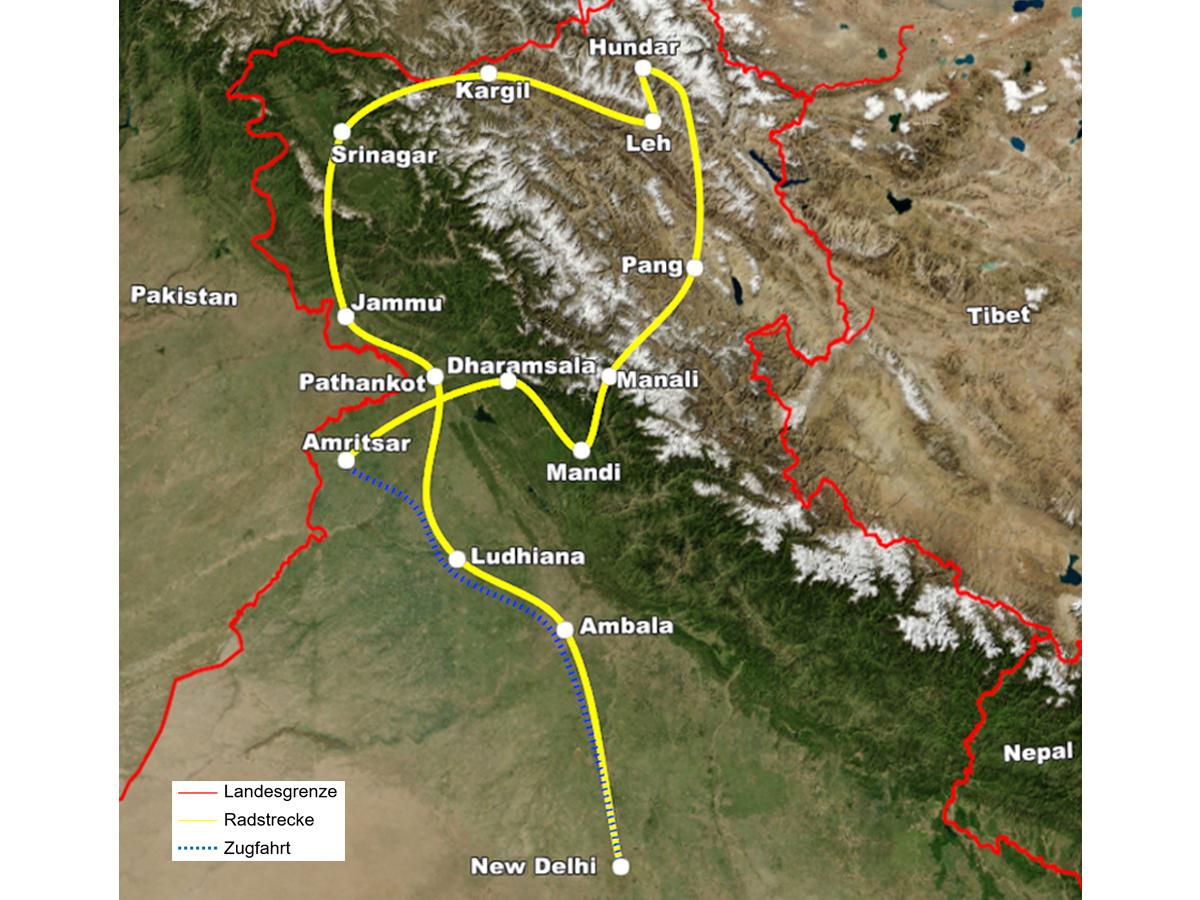 Radreise Ladakh 2012 - Reiseroute