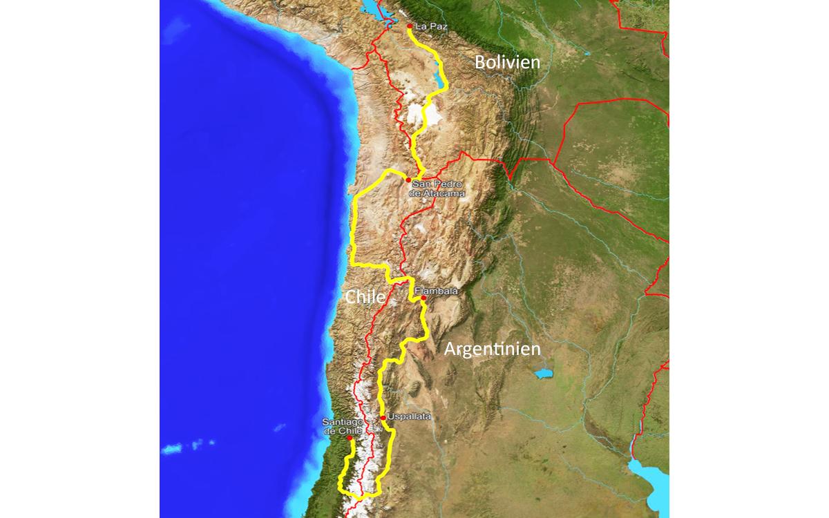 Radreise Südamerika 2019 - Radroute