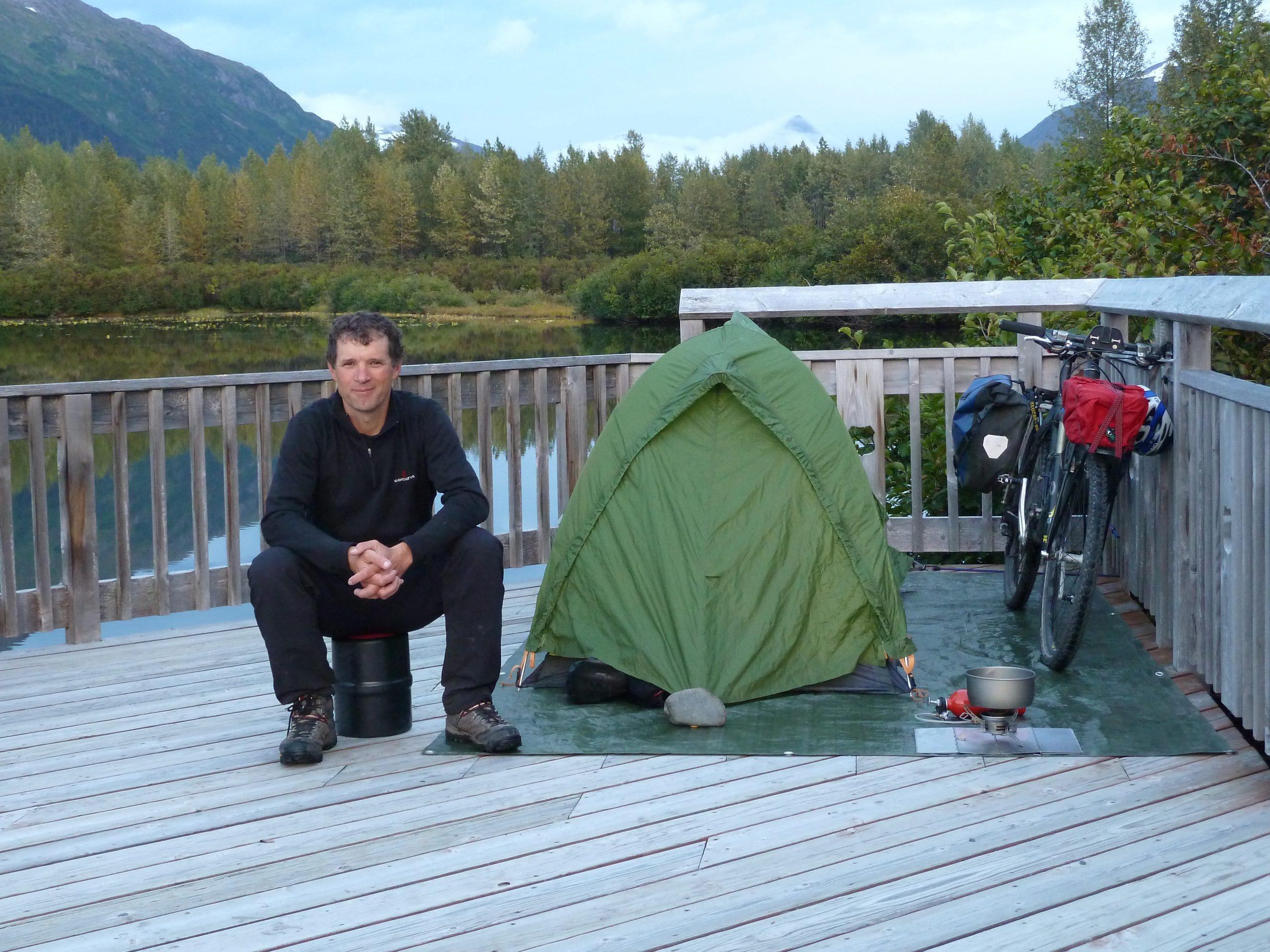 Radreise Alaska 2010 - Zeltplatz an der Portage Glacier Road