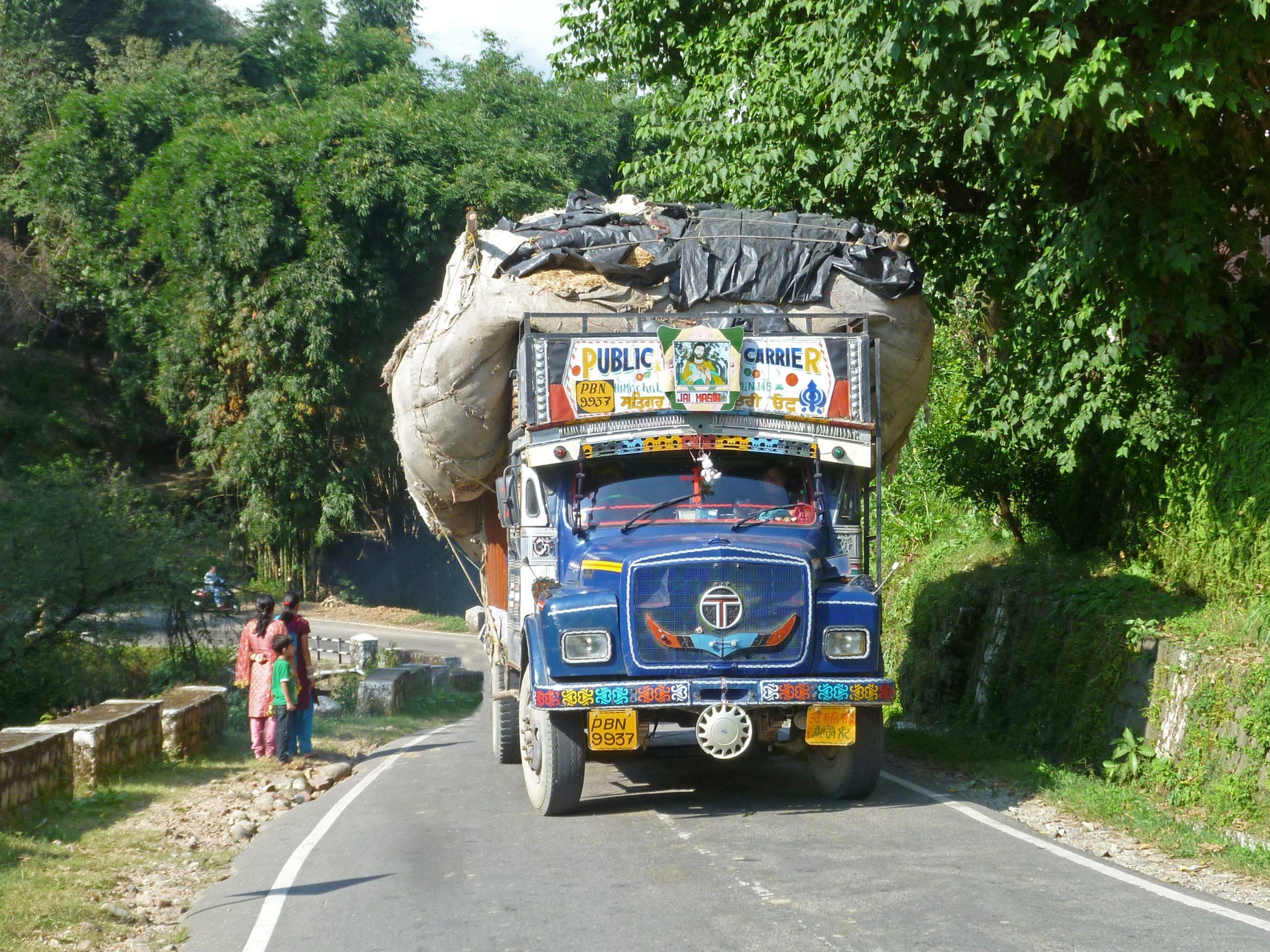 Radreise Ladakh 2012 - Mit Baumwolle vollgeladener LKW